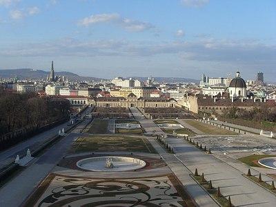 Blick vom Schloss Belevedere auf Wien